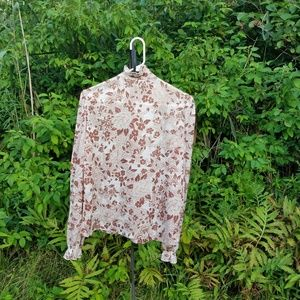 Vintage Tops - Vintage 70s Floral Button Down Shirt w/ Ruffles